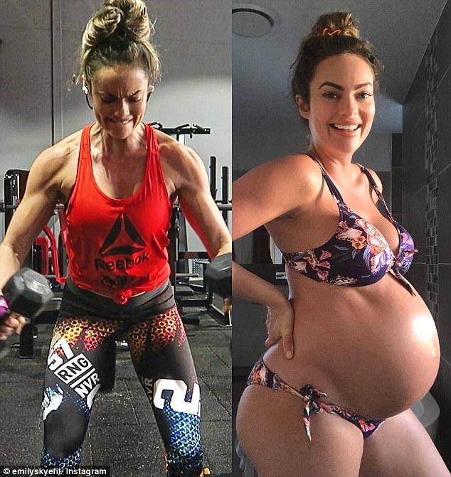 fitness model emily skye incinta