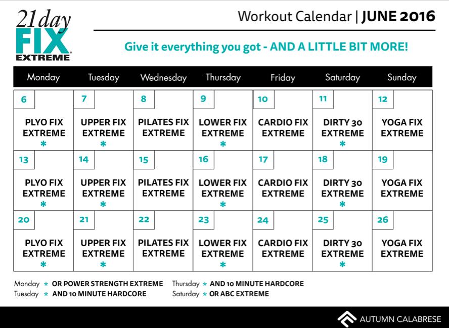 Calendario 21 days Fix Extreme